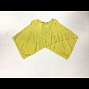 Marble Yellow Asymmetrical Shawl With Buttons